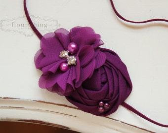 Plum rosette headband, purple headbands, newborn headbands, flower headbands, rosette headbands, photography prop