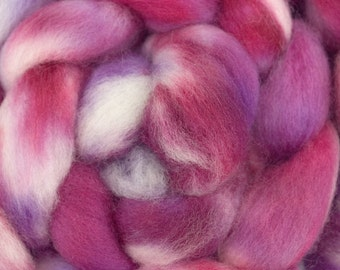 Hand Dyed BFL Combed Top, 4oz in Magenta