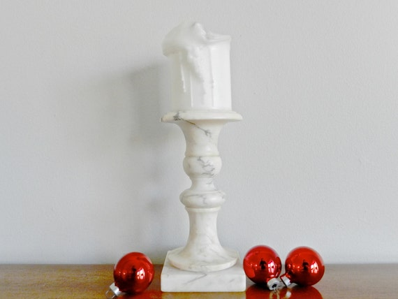 Vintage Marble Candle Holder White Marble By Modrendition
