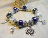 Celestial Charm Bracelet, European Style Moon Sun and Stars Bracelet, Blue Moon Bracelet, Ladies Bracelet