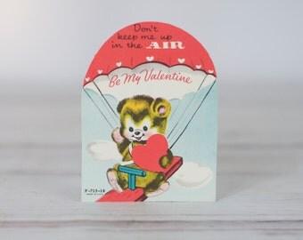 1960 Valentines Card-Bear Parachute Umbrella Teeter Totter JL
