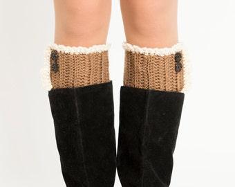 Taupe Button Boot Cuffs, Boot Topper, Scalloped, Ruffled, Crocheted, Handmade Knit Boot Warmer, Women's Warm Winter Accessory