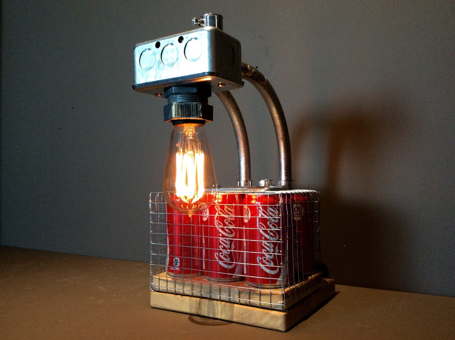 Industrial Coca Cola Light Table Lamp Edison Light Bulb