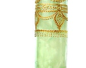 Tall Container Candle in Hand Painted Green Glass, Aromatherapy Scented