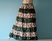 Long skirt - Gypsy Skirt - Maxi Skirt - Patchwork Peasant Skirt - Blue Orange Deep Green skirt by Chandrika Shop Flower Pattern skirt