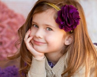 Dark Plum Purple Satin & Gold Glitter Headband - Photo Prop -  Baby Infant Toddlers Girls Women