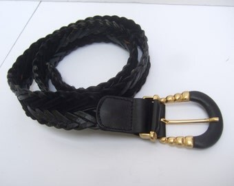 SAKS FIFTH AVENUE Black Leather Woven Belt Made in Italy