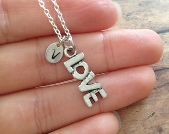 love necklace + personalized initial tag