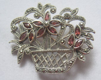 """SALE Vtg Sterling Silver Marcasite & Ruby Pink Rhinestone Brooch in form of a Woven Basket full of Flowers.  1-7/16"""" H x 1-5/8"""" W."""