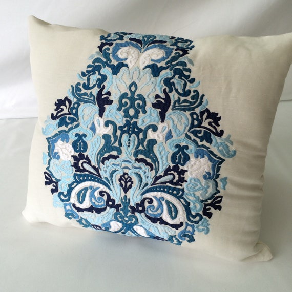Embroidered Medallion Linen Pillow Cover Designer throw
