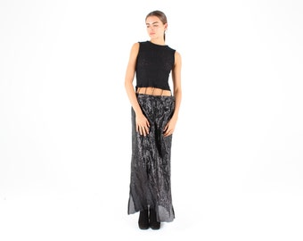 Crazy 90s Avant Garde Multi Textured Two Piece Illusion Black Maxi Party Dress