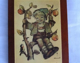 Vintage Wooden Hummel Plaque Wall Decoration Boy in Apple Tree