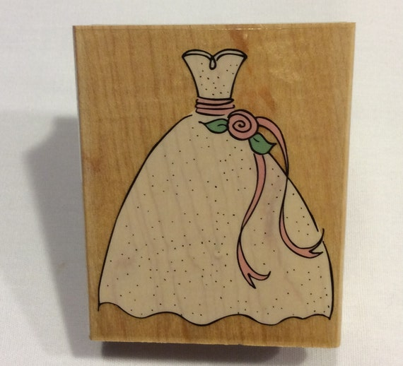 wedding or prom dress rubber stamp by never2old2craft on etsy