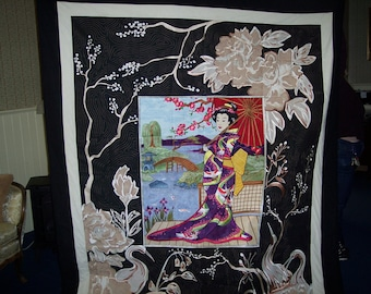 Geisha Appliqued and Embroidered Quilt