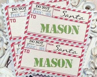 Personalized Airmail From Santa Stickers (8) - Christmas Stickers-Postage Stickers-Vintage Airmail Tags-Holiday Stickers-Don't Open Until