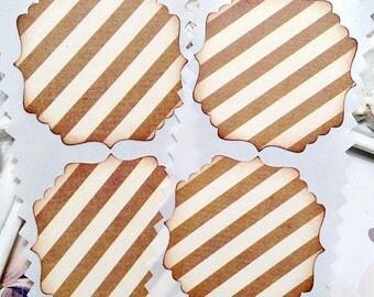 LAST SET - Brown and Cream Stripe Stickers / Envelope Seals - Set of 45