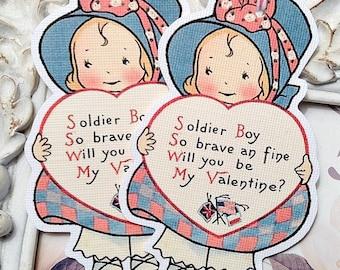 Soldier Boy Poem Valentine Gift Tags (6) Retro Valentine-School Valentine-Favor Tags-Treat Bag Tags-Classroom Valentine-Valentine Die Cut