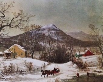 Original Vintage Currier & Ives Holiday Postcard Winter Farm