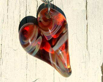 Lampwork Focal Bead Heart Necklace, Hand Blown Boro Glass Jewelry, Red with Amber
