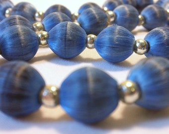 Womens Vintage Navy Blue Silk Beaded Long Necklace Silver Tone