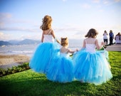 Cinderella Youth - Teen - Long Tutu Skirt - Aqua Blue Tutu - Snow Princess Tutu - Frozen Tutu - Flower Girl Tutu -  Bridesmaid