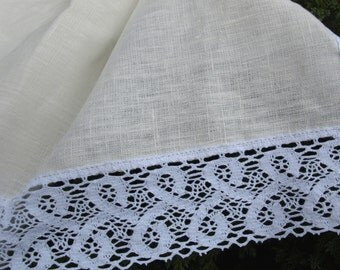 """Linen Tablecloth With Lace 59""""x94""""  Ivory and White Washed Vintage Look"""