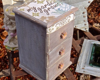 Jewelry Box, Keepsake Box, Trinket Box, My Garden Grows, Floral, Decoupage, Furniture, Waterfall, Chest of Drawers, Pink, Mauve, Tower