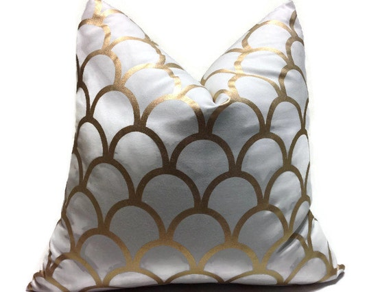 Decorative Pillows White And Gold : Pillows Gold Pillows Gold White Decorative Pillow by DEKOWE