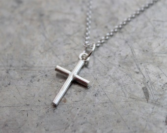 Silver Cross Necklace - Simple Everyday Necklace, Sterling Silver Charm Pendant, Minimalist Jewelry, Simple Cross, Religious Gift Under 30
