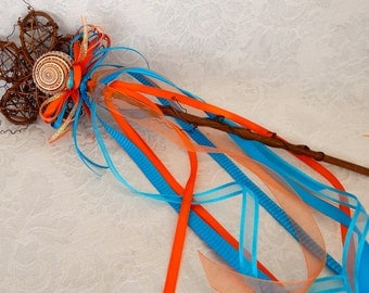 Flower Girl Wand- Beach Wedding, Seashell Wedding Accessory, Themed Wedding, Blue and Coral Wand