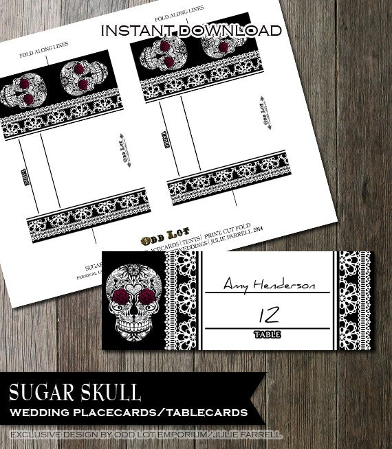 Printable wedding placecards Goth Skull and Lace with Burgundy carnations folded Tent Cards for weddings birthdays u0026 parties DIY Offbeat & Printable wedding placecards Goth Skull and Lace with Burgundy ...