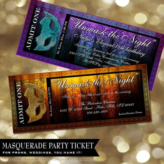 Masquerade Party Invitation Mask Ticket Prom