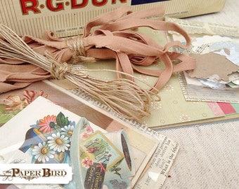 Mixed Media Supplies Cigar Box of Goodies Paper Ephemera Vintage Puzzle Pieces Die Cuts