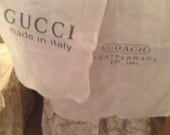 Gucci Made in Italy Large Dust Cover Bag White with Brown Lettering drawstring closing