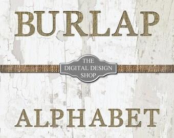 Burlap Letters - Burlap Alphabet - Flat and Shadowed Burlap Letters