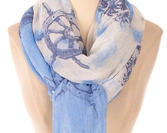 Blue Anchor print Scarf, summer soft scarf, Sail Boat print, Bon Voyage, Scarf Pretty Scarfs, Popular Gift Item - By PiYOYO