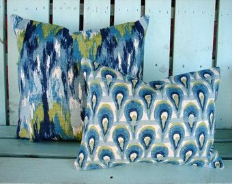 Set of 2  blue, navy,green,aqua,ivory Ikat Premier  print- decorative pillow cover-accent pillow-gifts under 40-throw pillow