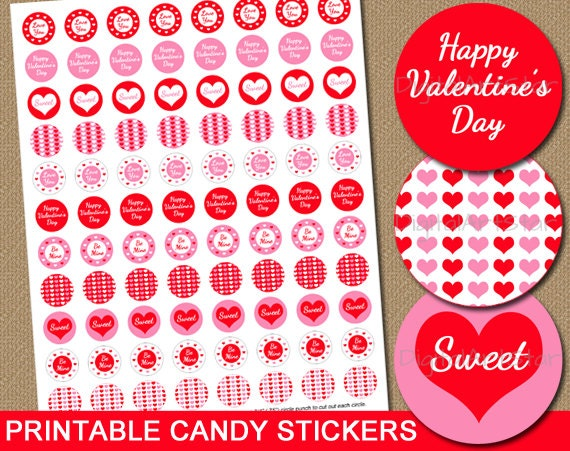 Valentines Day Candy Stickers DIY Printable Chocolate Stickers Party Favors Red and Pink - INSTANT DOWNLOAD Valentines Day Gift
