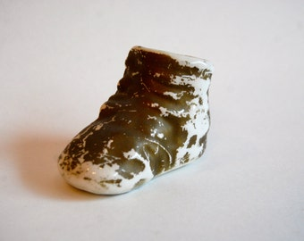 Vintage Pottery Gold Baby Shoe Planter