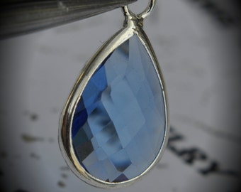 Silver Plated Bezel Brass Faceted Glass Tear Drop Pendant - Sapphire
