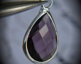 Silver Plated Bezel Brass Faceted Glass Tear Drop Pendant - Amethyst