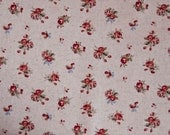 Red Rose Linen Cotton Mix Shabby Chic Fabric by Sevenberry Sold by the Half Metre