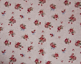 Fabric Red Rose Linen Cotton Mix Shabby Chic by Sevenberry Sold by the Half Metre - UK Shop - Craft Supplies
