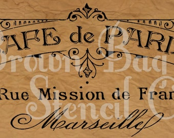 French Stencil - Cafe de Paris2 - 12x20 - mylar stencil - French Stencil