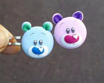 Bear bobby pins set, kids bobby pins, polymer clay bear, gift for kids