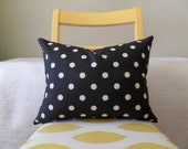 Black and Ivory Polka Dot Zippered Pillow Cover