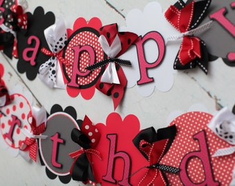 Happy Birthday Banner Black, Red, White polka dot Lady Bug/Mickey mouse/minnie Mouse