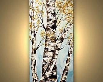 Original  acrylic Landscape Painting Blooming Birch Tree Modern Palette Knife by Osnat 48x24  Ready to Hang