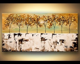 Acrylic Painting Blooming Trees Forest Original Impressionist Palette Knife Modern Fine Art by Osnat - MADE-TO-ORDER