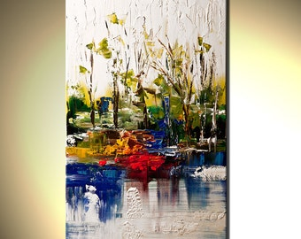 "White abstract Landscape painting Contemporary Modern Palette Knife by Osnat - MADE-TO-ORDER - 40""x24"""